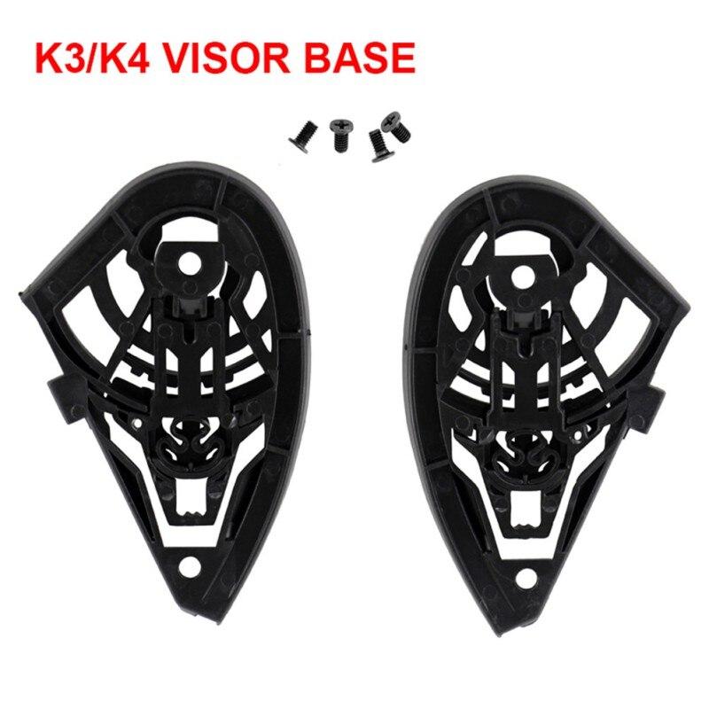 2 piezas accesorios de placa de casco de motocicleta izquierda derecha duradero con tornillos herramienta escudo Base Visor lente de plástico apto para k3 K4