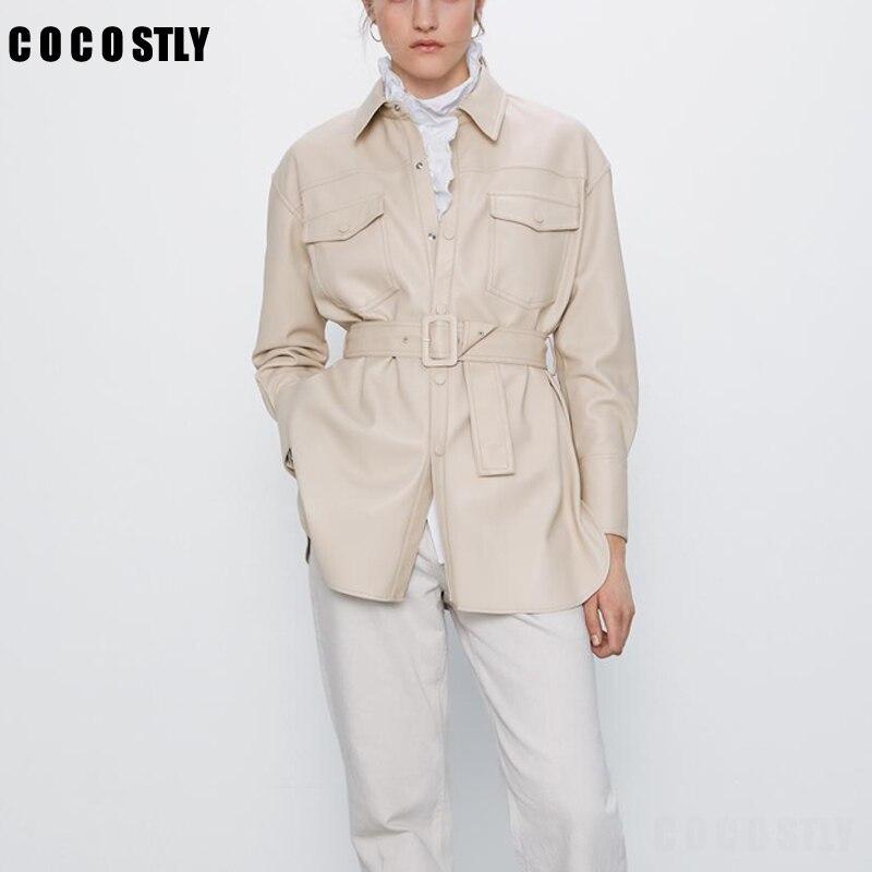 Куртка женская кожаная из искусственной кожи, элегантный длинный жакет с поясом, с карманами, на пуговицах, уличная верхняя одежда, 2020 жакет удлиненный с карманами на пуговицах