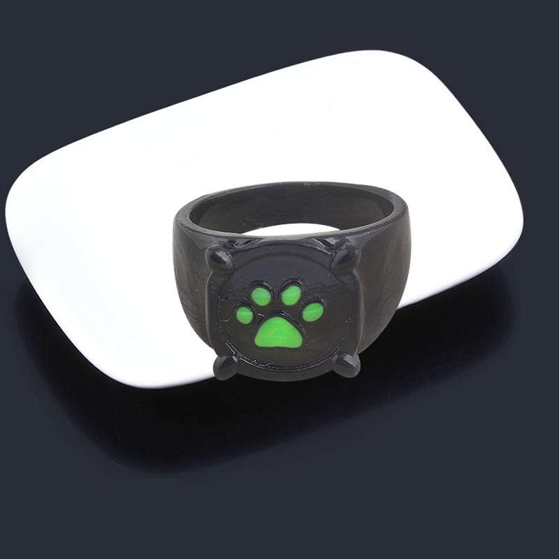 Anime Black Cat Rings Girl Boy Cartoon Green Print Enamel Cat Paw Finger Ring Cosplay Jewelry Party