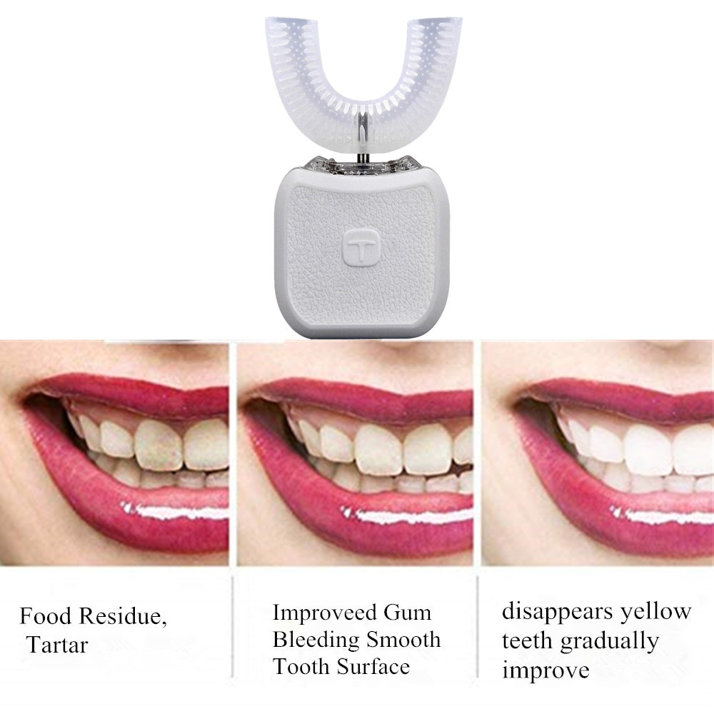 Electric Toothbrush USB Charging Full Automatic Soft Waterproof Sonic Teeth Brush U Shape Teeth Whitening Adult Children