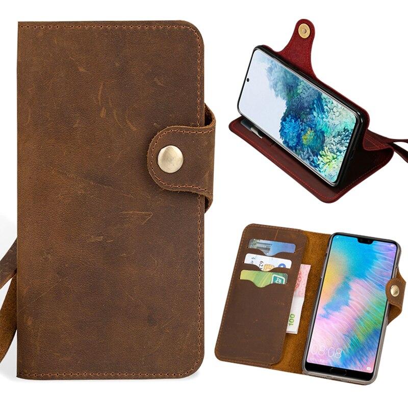 جراب هاتف جلدي مع رفرف ، جراب لهاتف Huawei Honor 30 30S 20 20i 10 10i 9 8 Lite 8A 9X 8X X10 Max 7X V30 Pro P Smart Crazy Horse Wallet