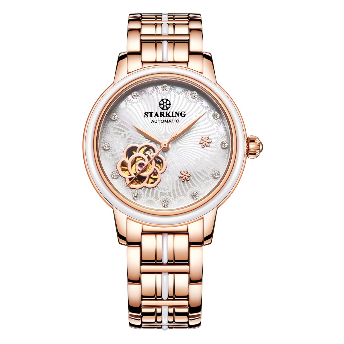 Women's waterproof automatic mechanical watch Fashion simple watch Hollow out enlarge