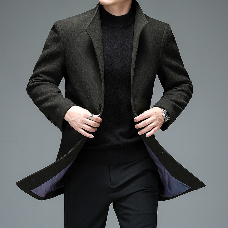 Autumn Winter Men Wool Blend Coat Navy Blue Gray Black Green Claret-Red Sheep Woolen Overcoat Male Single-Breasted Outfits