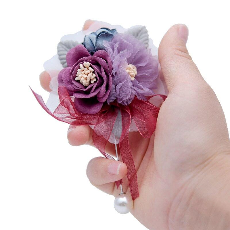 Broches y broches de solapa con aguja larga y flores de tela bonita a la moda de Coreano hecho a mano para ramillete para mujer, accesorios de boda