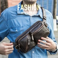 men genuine leather waist chest bags pouch single shoulder cross body bag can hold 7 9 ipad high quality hip bum fanny belt pack