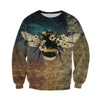 beautifull bee art 3d all over printed sweatshirt new fashion autumn hoodie unisex casual zip jackets