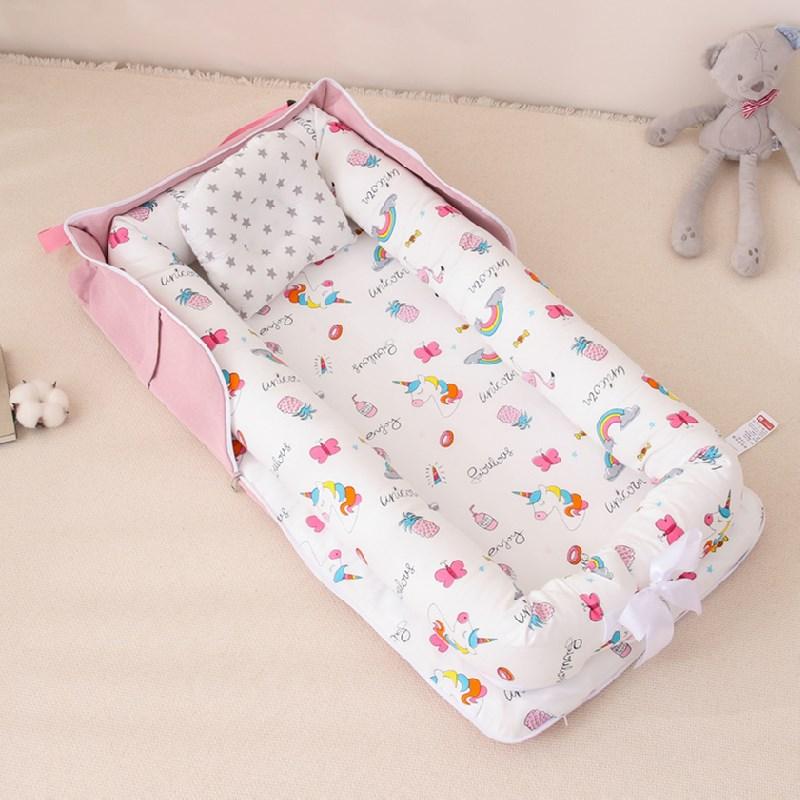 Portable BabyNest Bed for Newborn Boys Girls Travel Bed Infant Cotton Cradle Crib Baby Lounger Bassinet Bed
