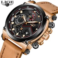 new 2020 lige men watch male leather automatic date quartz watches mens luxury brand waterproof sport clock relogio masculino