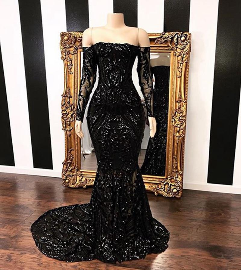 Long Prom Dresses 2020 Boat Neck Long Sleeve Sequined Floor Length Mermaid African Black Girl Prom Dress