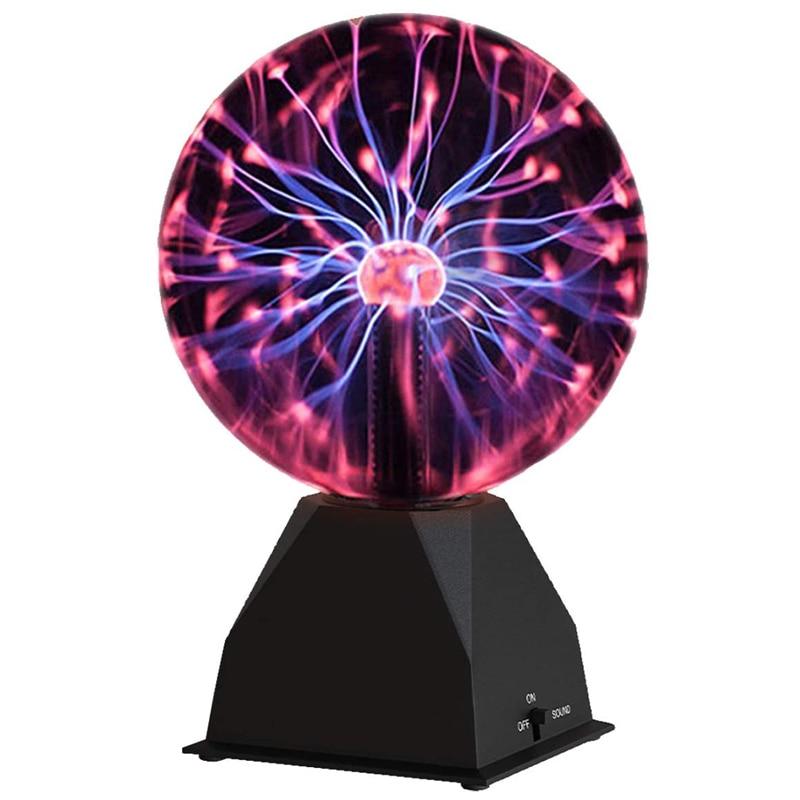 Plasma Ball Glass Touch Sensitive USB/Battery Powered Novelty Science Thunder Lightning Plasma Lamp with Sound Sensitive
