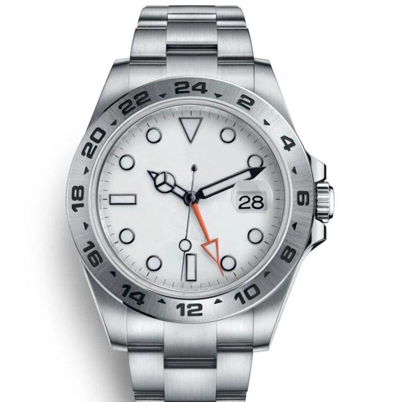 الكلاسيكية الجديدة الرجال التلقائي ساعة ميكانيكية أسود أبيض الفولاذ المقاوم للصدأ الياقوت غواص EXP الرياضة GMT الساعات 40 مللي متر