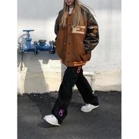 baseball bomber female brown jacket men zip up jacket women clothing 2021 harajuku plus size streetwear outerwear goth japanese