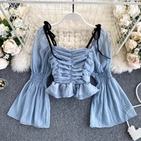 womens square neck long flare sleeve pleated short slim chiffon shirt autumn solid color sexy off shoulder harajuku blouse