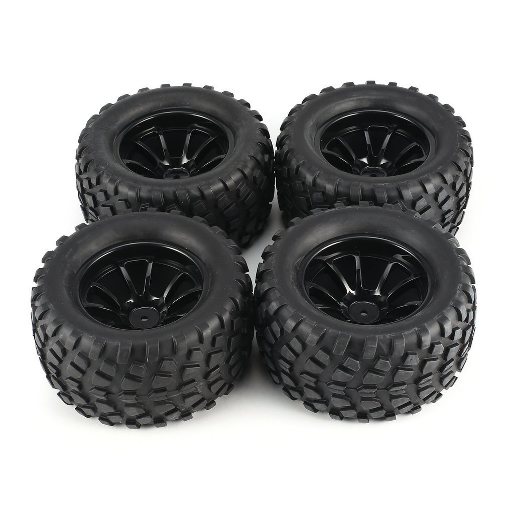 4Pcs 130mm 10 Contour Dump Fetal Flower Off-road Wheel Rim and Tires for 1/10 Monster Truck Racing RC Car Accessories