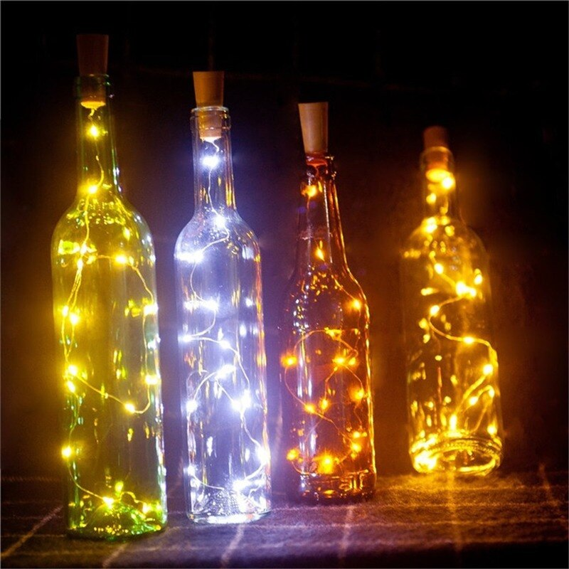 Вино бутылка свет пробка светодиод декор батарея +гирлянда фея лампа медь провод рождество огни строка для дома пробка бутылка свет