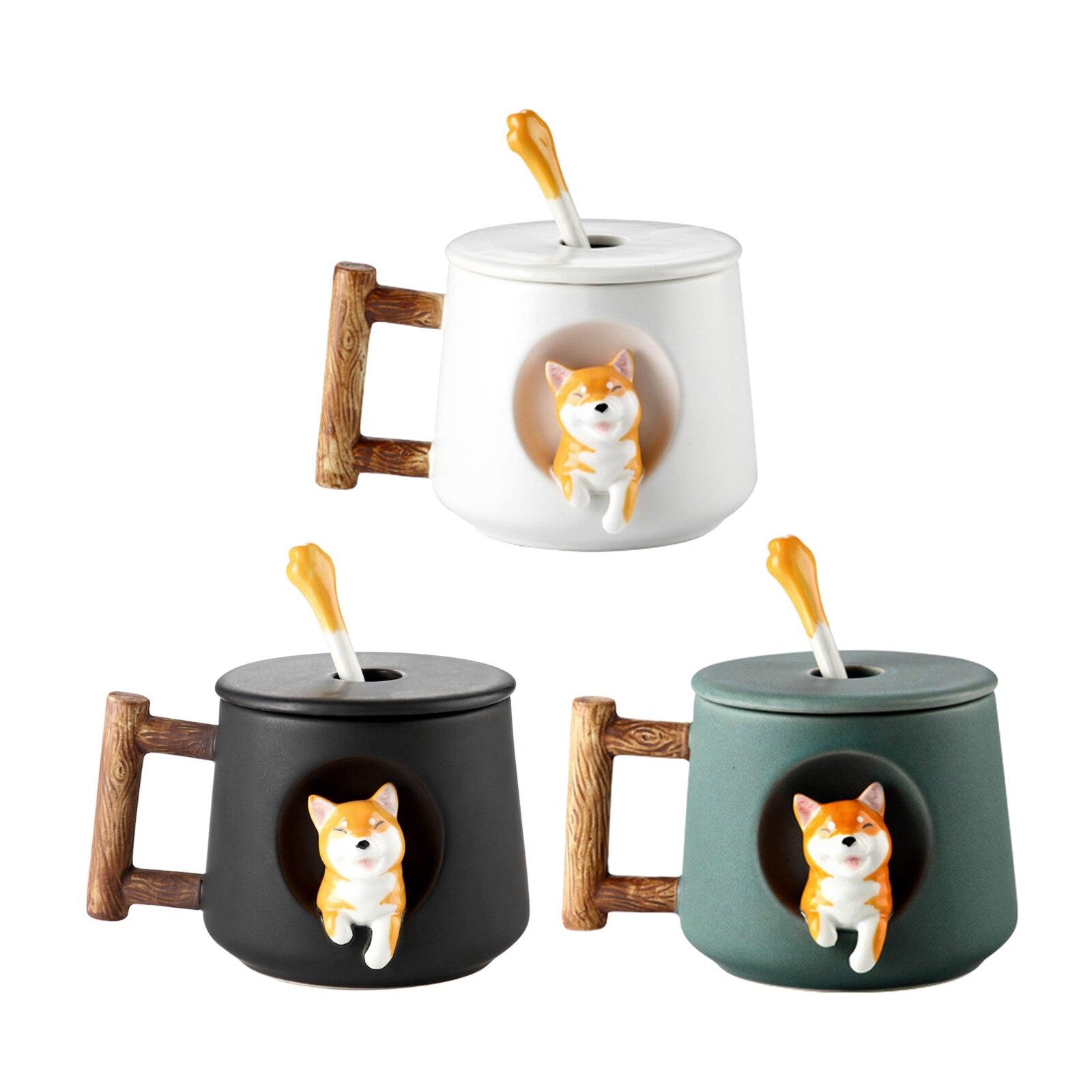 مج سيراميك جميل ثلاثية الأبعاد الكلب نمط الشراب عصير الشاي فنجان القهوة 500 مللي للأصدقاء الكبار الفتيات المفضلة هدية