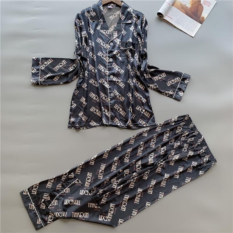 Pajamas Women & Men Autumn and Winter Silk Print Pyjama Summer Silk Suit Cardigan Long Sleeved Pants Tracksuit