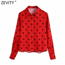 Zevity donna dolce Polka Dtos stampa camicetta Casual rossa Office Lady camicia monopetto Chic Chemise Business Blusas top LS9664