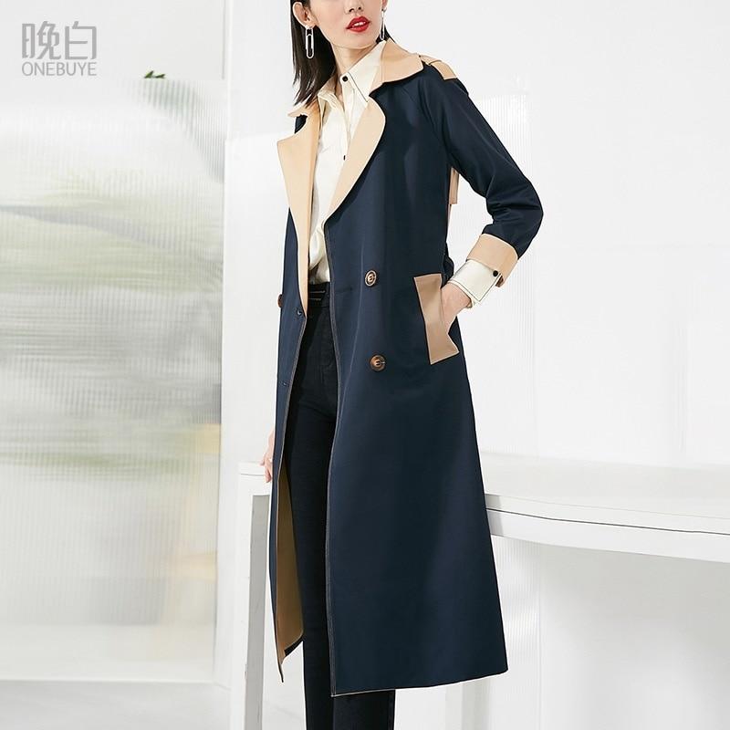 موضة خريف 2021 الجديدة ، المعطف الطويل الاحترافي المتماثل ذو اللون النحيف ، الاكمام الطويلة والمتنوع للنساء