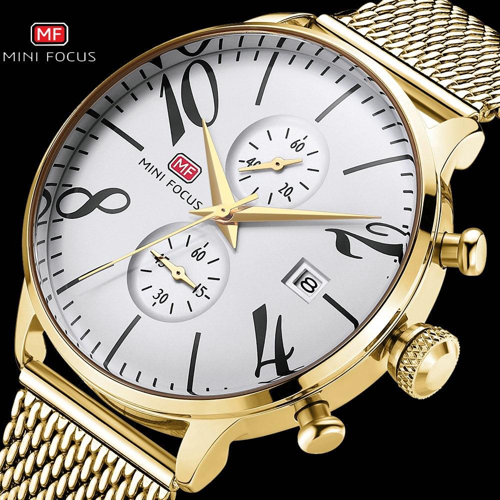 Relojes MINI FOCUS Royal para hombres, reloj de cuarzo de marca superior, correa de malla dorada, reloj cronógrafo resistente al agua para hombres, reloj Masculino