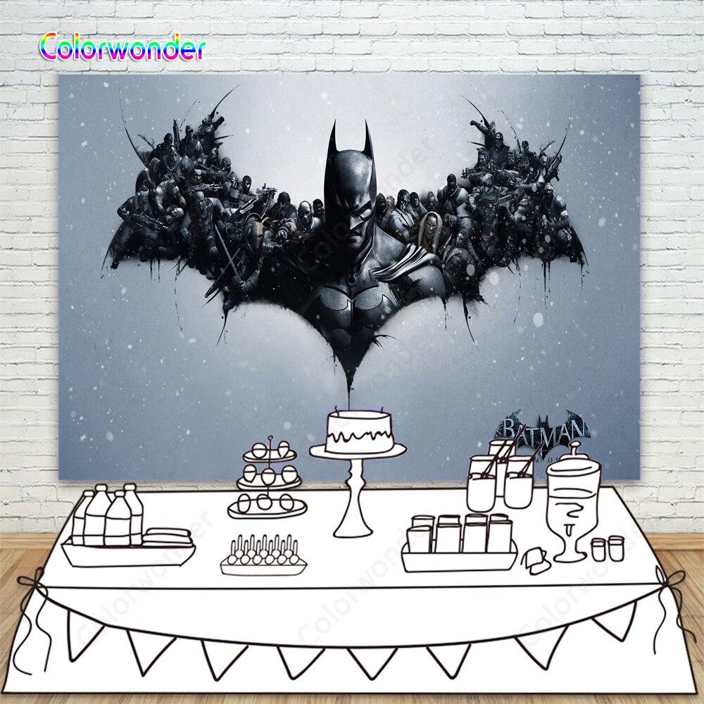 Superbohater Batman mroczny rycerz tło Batman strona szczęśliwy urodziny dziecka dziecko zdjęcie tło dla uroczystości baner dekoracyjny
