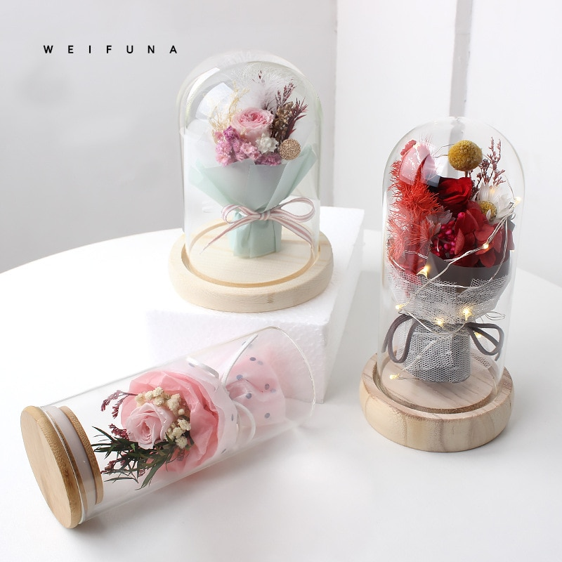 Eternal life flower glass cover rose Mother's Day gift box Valentine's Day gift box Home decor furnishing creative gifts недорого