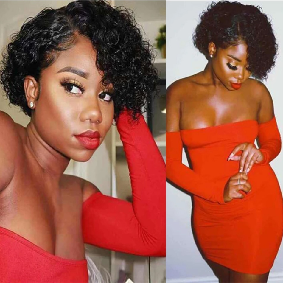 250% Pixie Cut Curly Bob Wig Human Hair Wigs 13x6x1 Deep Kinky Curly Wave Wig 8 Inch Human Hair Remy Pre plucked With Baby Hair