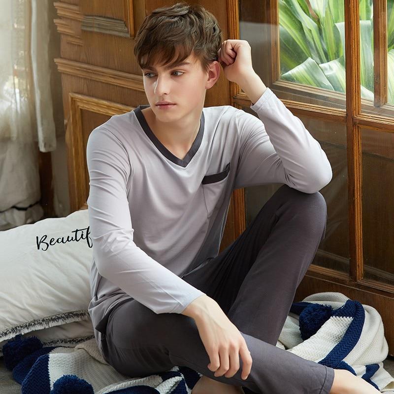 Plus Size Modal Men Pajamas Set 2PCS Sleepwear Apring Autumn Sleep Set Nightwear Pijamas Suit Casual Soft Home Clothes Negligee