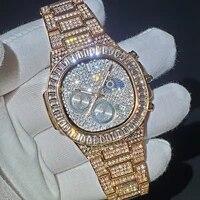 relogio masculino missfox hip hop iced out men watch diamond quartz luxury mens wrist watches rose gold calendar steel clock