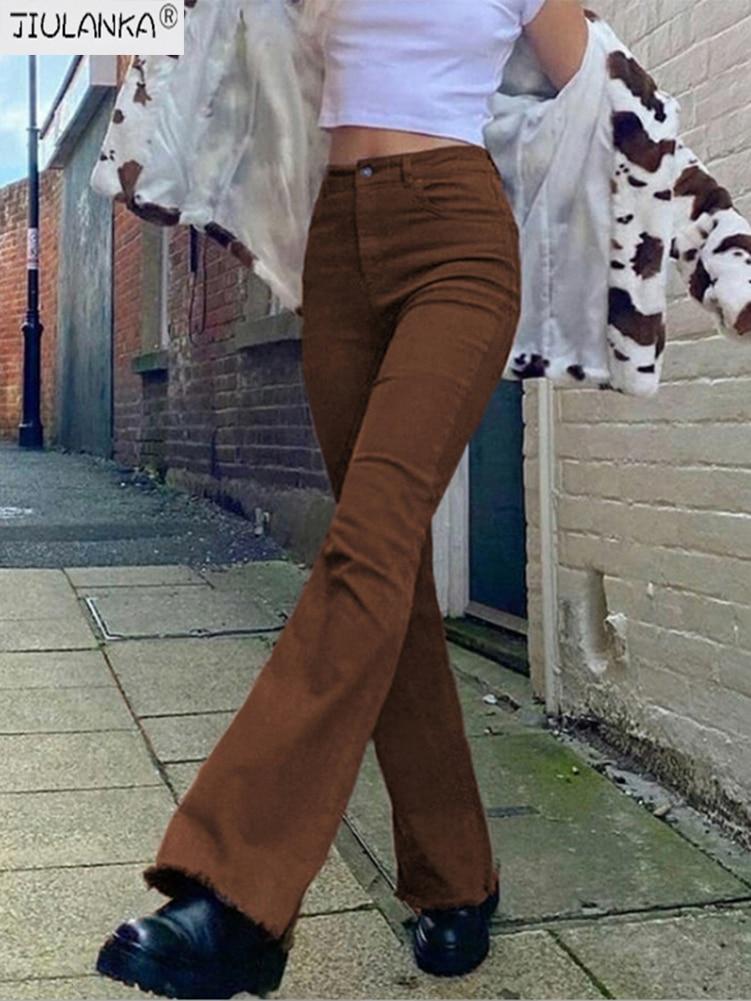 Women's jeans woman high waist brown Pants Jeans Women's pants Jean women clothing undefined streetwear Woman trousers e girl