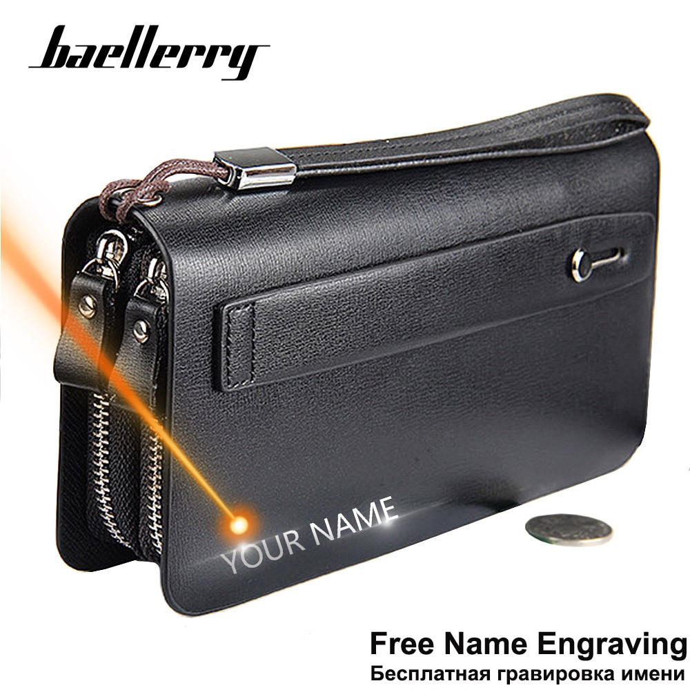 Baellerry Men Wallets Large Capacity Cell Phone Pocket Double Zipper Men Clutch Bag Passcard Pocket