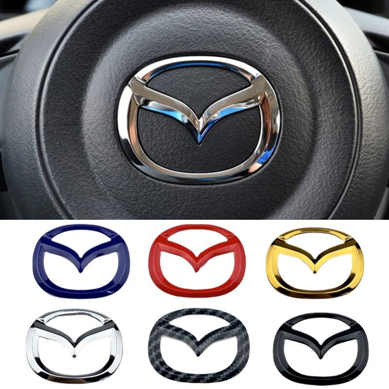 Coche emblema para volante de la etiqueta engomada para Mazda 3 Axela...