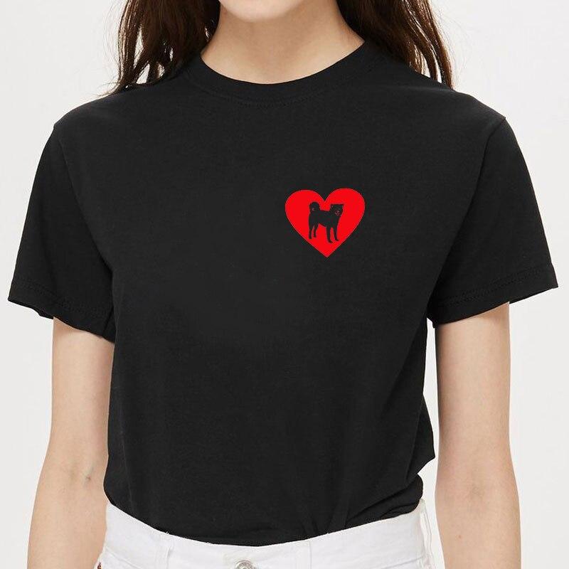 Забавные хлопковые футболки с принтом «I Love Akita» и сердечками для женщин, футболки с графическим принтом «I Love Akita», Летние повседневные женские топы
