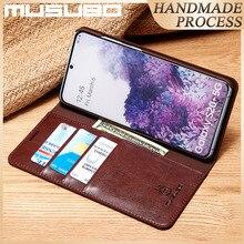Musubo étui en cuir véritable pour Samsung Galaxy S20 5G housse à rabat S20 + S20 Ultra S20 Plus Funda portefeuille de luxe Capa Coque