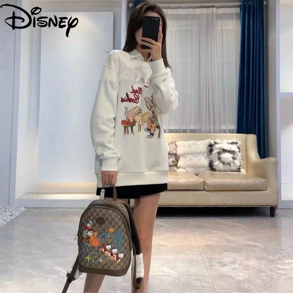Disney Donald Duck Unisex Shoulder Bag Casual Large Capacity Travel Bag Fashion Cartoon Printed Leather Zipper Backpack