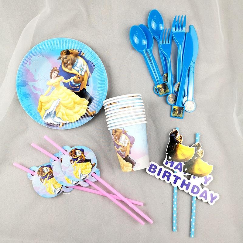 Decoración de recuerdo para niños con temática de la Bella y La Bestia, platos para fiesta de cumpleaños, mantel, taza, pajitas, bandera, cuchillo, tenedor, cuchara, Baby Shower