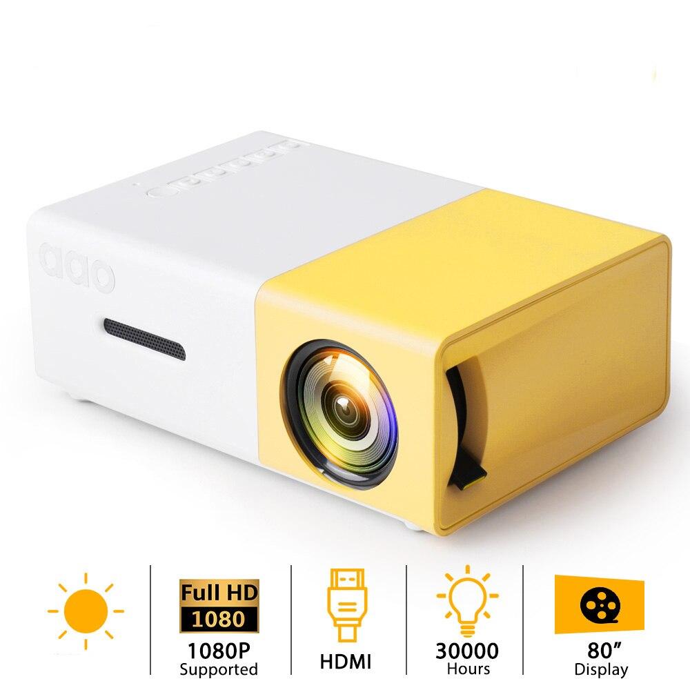 AAO-miniproyector LED YG300, USB, 3D, Pico, Audio, YG310, reproductor multimedia para el...