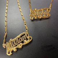 personality silver and gold script double any name plate necklace custom curb chain name chokers name plate necklace