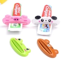 Distributeur de pate a presser facile a presser  1 piece  porte-rouleau pour dentifrice de salle de bain  motif Animal mignon  dessin anime
