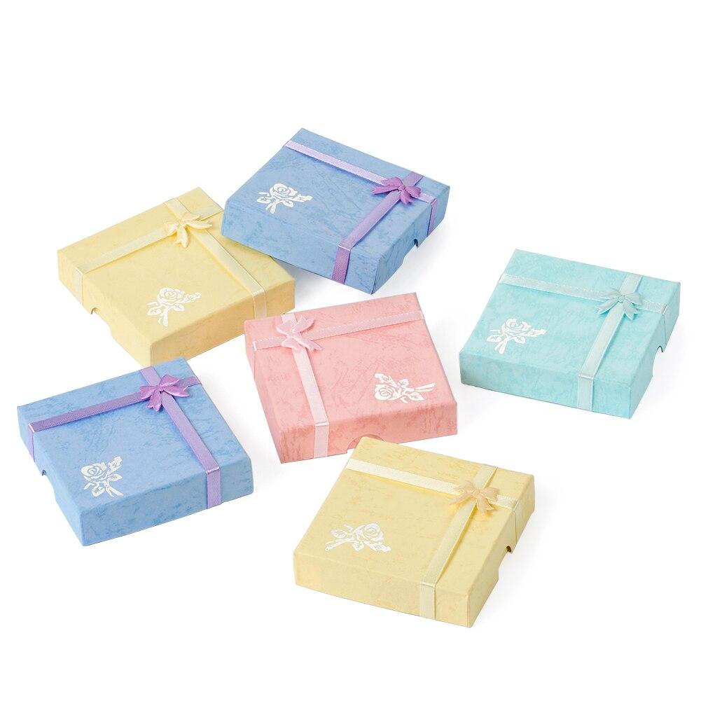 6 шт./лот квадратный органайзер для ювелирных изделий, подарочные коробки, бумажные картонные коробки для браслетов, упаковочные коробки, ди...