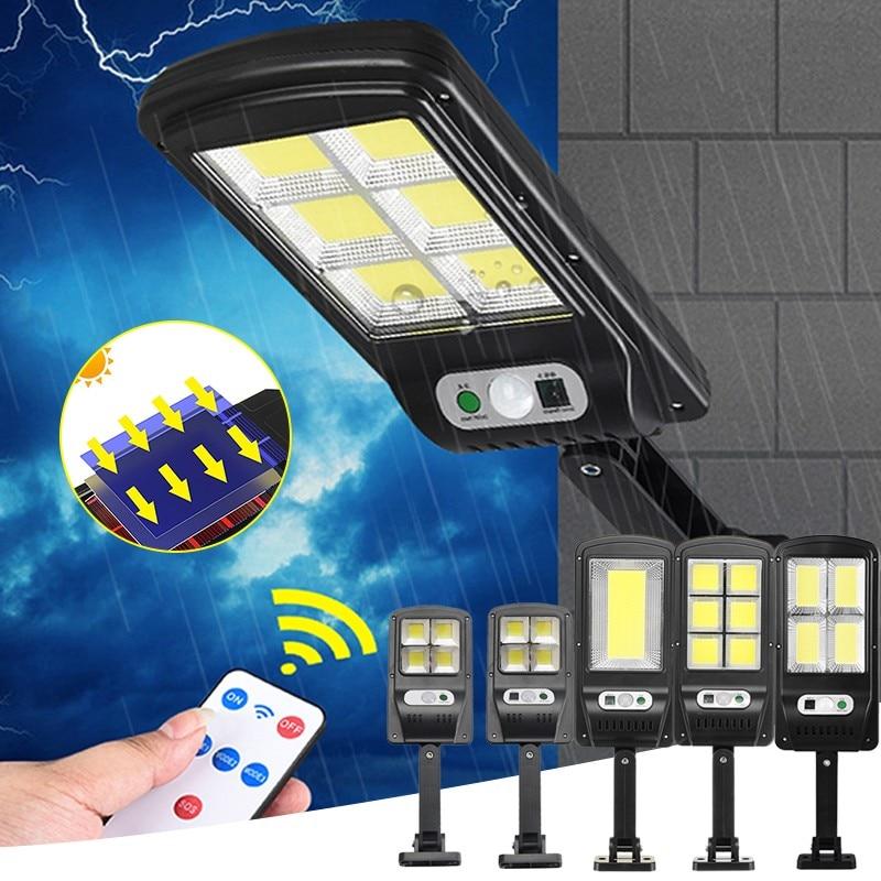 Solar light lamp outdoor Powerful luces LED PIR Motion Sensor IP65 Outdoor Waterproof Street Light garden wall Lamp With Remote