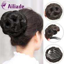 AILIADE-coiffure synthétique en forme de pince   Faux fleurs élastique, pince à cheveux bouclée, Chignon de mariée pour femmes et filles, postiche avec pince à donuts