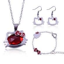 Japonais mignon Hello Kitty pendentif collier boucle doreille Bracelet ensemble femme douce Animation alliage incrusté rouge bijoux février 14 Gif