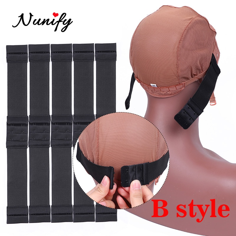 10Pcs Adjustable Wig Strap Elastic Band For Stretching Wig Caps 1.4Inch Width Comfortable Black 2.5Cm Width Frontal Sewing Band