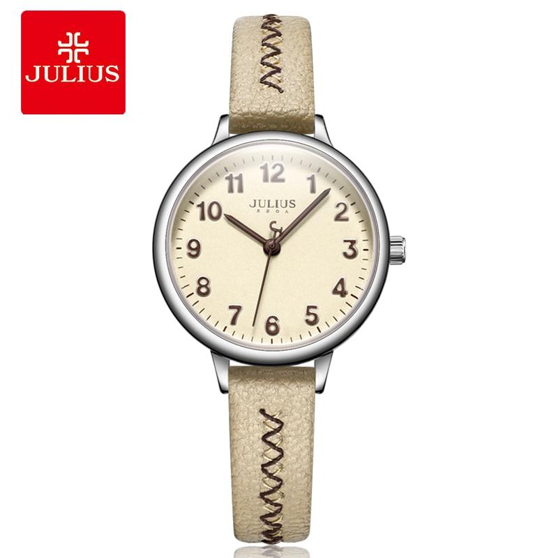 New Lady Women's Watch Japan Quartz Elegant Cute Fashion Small Hours Bracelet Leather Clock School Girl Birthday Gift Julius Box
