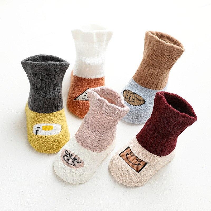 Носки для новорожденных девочек и мальчиков Lawadka, хлопковые зимние Нескользящие напольные носки для новорожденных девочек и новорожденных,...