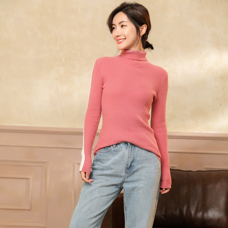 adishree 2021 woman winter 100% Cashmere sweater and auntmun knitted Pullovers High Quality Warm Patchwork thickening Turtleneck enlarge