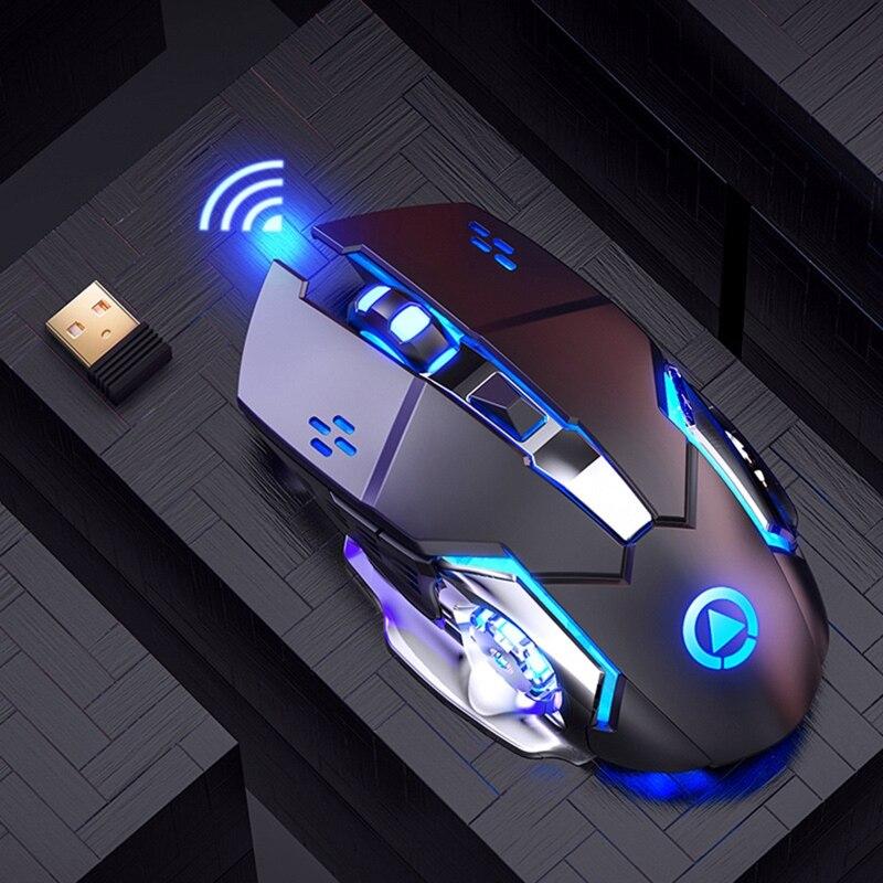 2.4G قابلة للشحن ماوس لاسلكي صامت 1600 ديسيبل متوحد الخواص 6 مفاتيح قابل للتعديل Blacklit الألعاب الفئران للكمبيوتر الكمبيوتر المنزل مكتب ألعاب