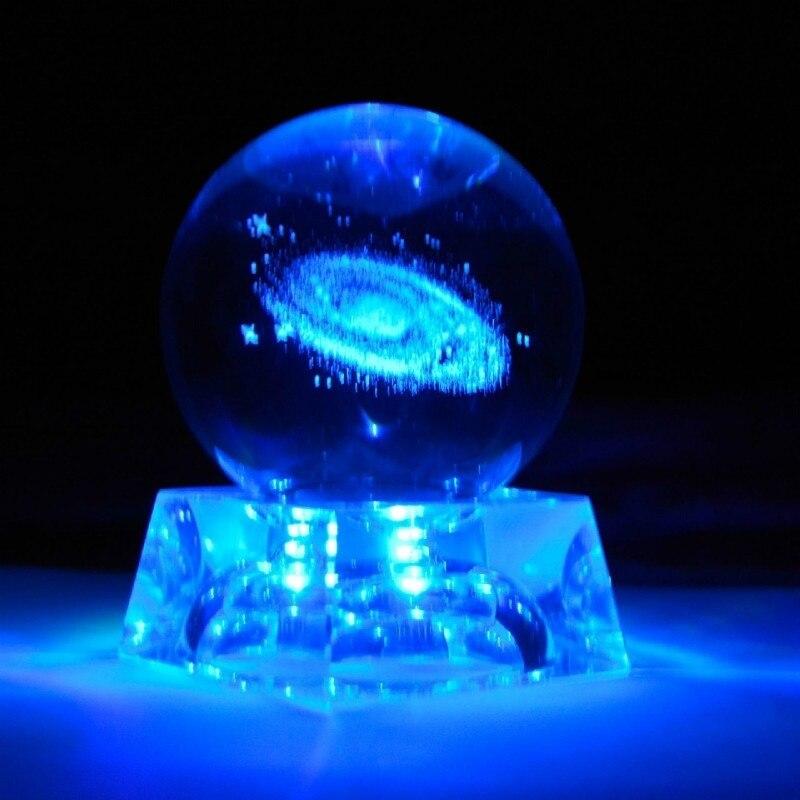 Bola de cristal grabada láser modelo planetas bola de cristal Bola de cuarzo con Base Luminosa 6CM 3D regalo decoración del hogar esfera miniatura