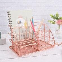1pc Pen Pencil Pot Holder Rose Gold Container Organizer Home Desk Stationery Decor